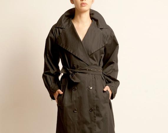 Yves Saint Laurent 1980's black oversized trench coat