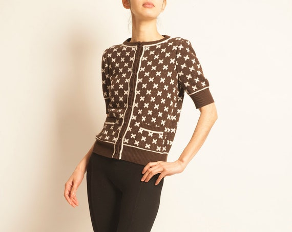 Cardigan tricot Courreges from 1970's cross motif