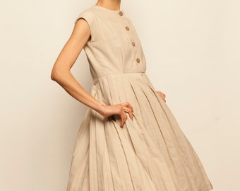 1960's beige linen no sleeves pleated skirt day dress