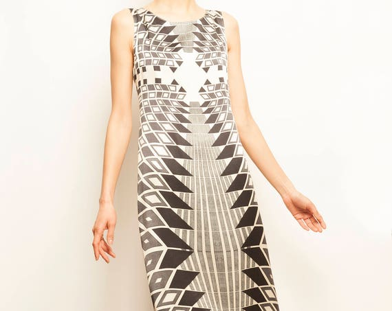 ICEBERG black and white geometric motif silk cocktail dress