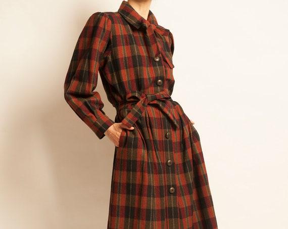Dress coat Yves Saint Laurent from 1970's tartan checked pattern