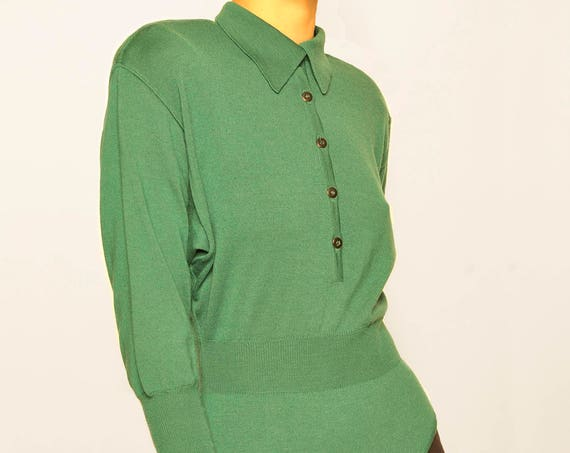 ALAIA 1980's green wool long sleeves body