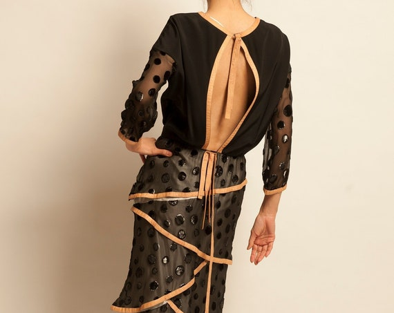 Backless evening dress courreges from 1970's polka dots motif
