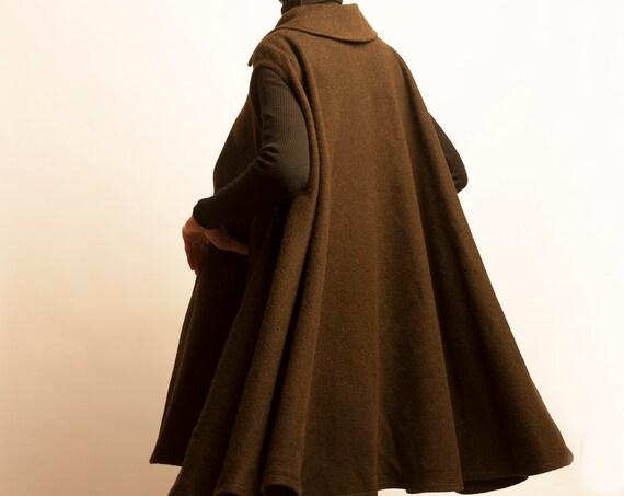 Yves Saint Laurent 1970's khaki wool cape gilet
