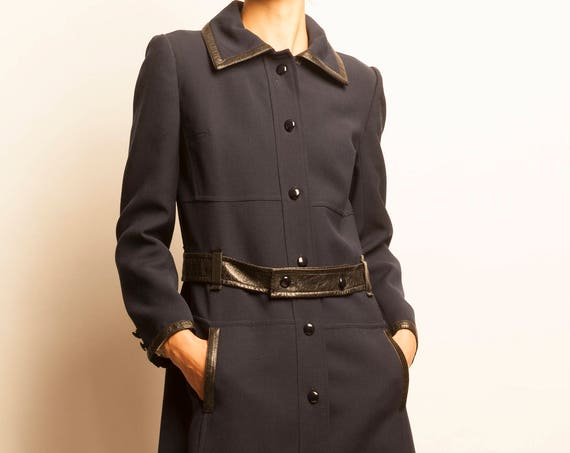 Courrèges 1970's navy leather belt 3/4 coat