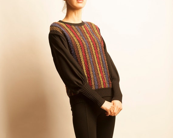 NINA RICCI 1980's wool multicolor stripes motif pull top
