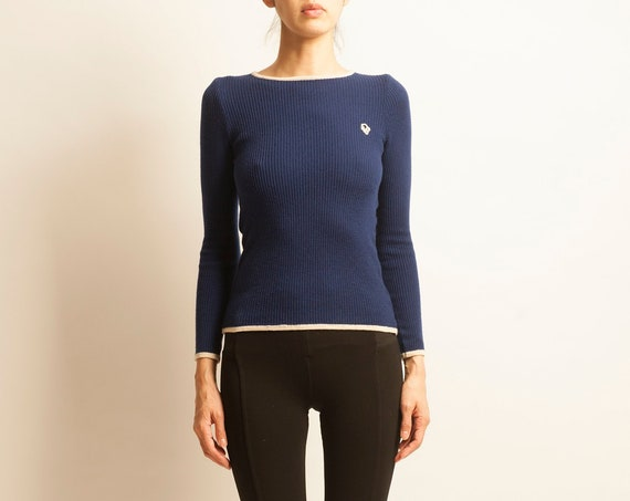 Christian Dior tricot 1970's navy mini pullover