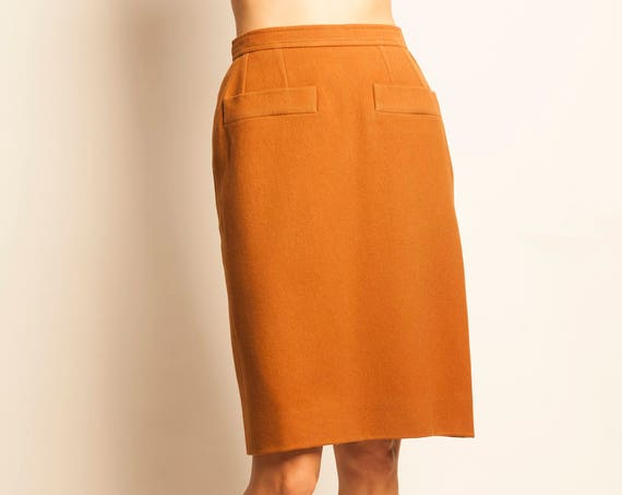 Yves Saint Laurent 1980's brown wool pencil skirt