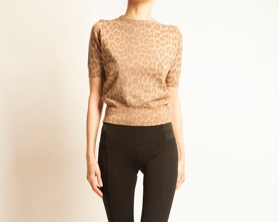 Knit top Yves Saint Laurent from 1980's leopard motif