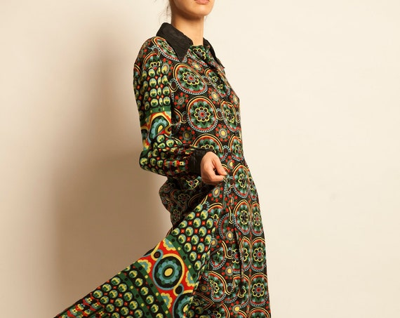 Maxi dress LANVIN from 1970's eccentric flower motif