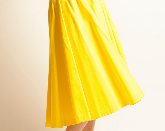 Flared skirt Yves Saint Laurent from 1970's yellow cotton