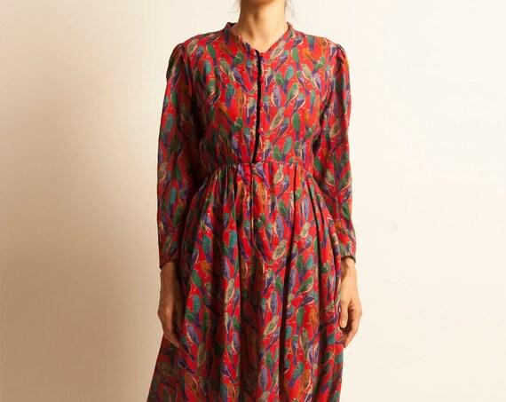 Day dress Emanuel Ungaro from 1980's birds motif