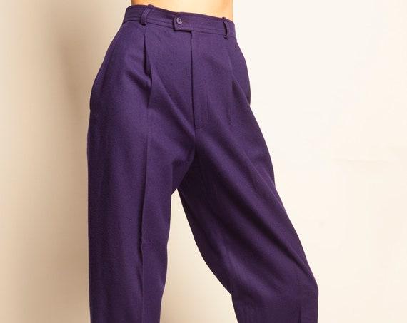 Yves Saint Laurent 1990's purple wool high waist pants