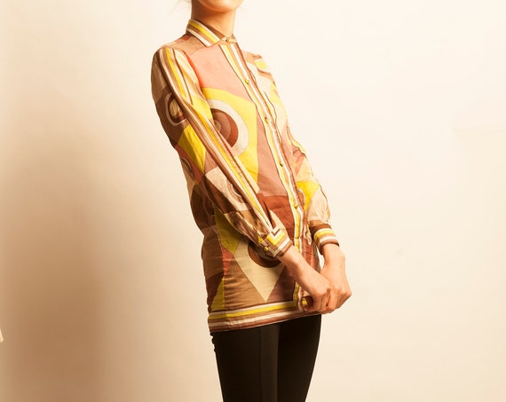 Emilio Pucci 1970's geometric motif cotton tunic blouse