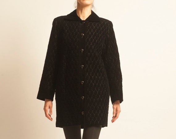 Yves Saint Laurent 1980's black velvet 3/4 coat
