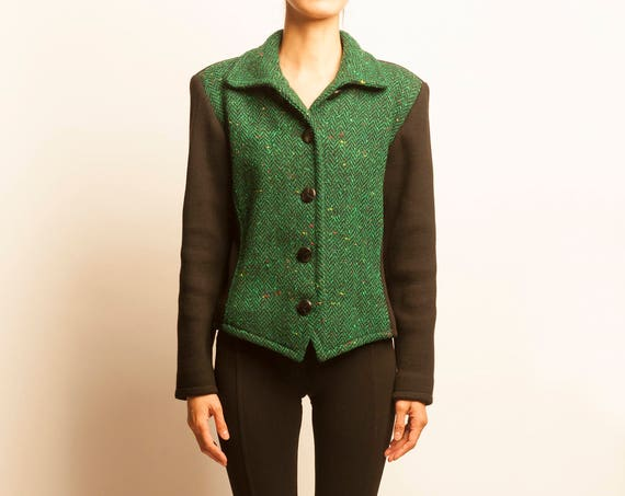 Yves Saint Laurent 1980's bi-color wool knit short jacket