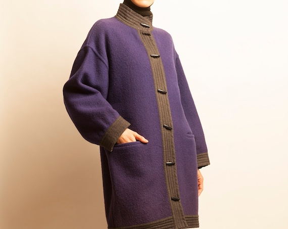 Guy Laroche early 1980's purple wool 3/4 coat