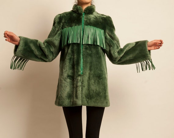 3/4 coat Christian Dior from 1980's faux fur with fringe