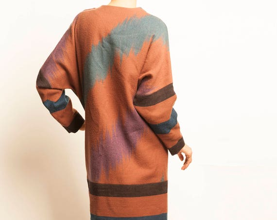 LANVIN 1980's dolman sleeves wool day dress