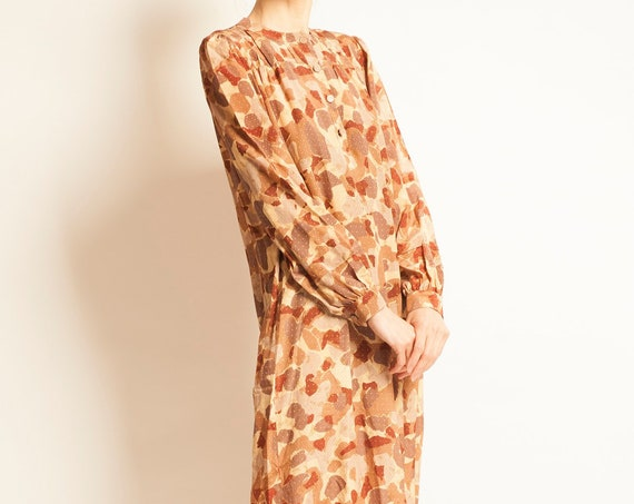 Day dress TED LAPUDUS from 1980's camouflage motif