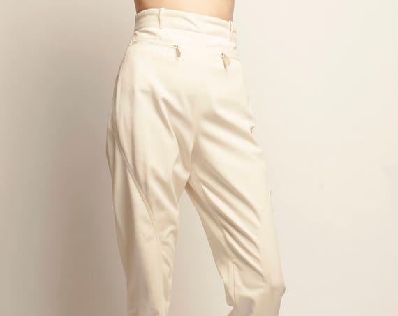 HERMES 1980's white high waist jodhpur pants