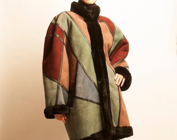 Sheep skin coat Christian Dior 1980's patch work