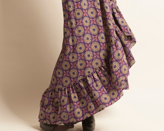 Wrapped long skirt Yves Saint Laurent from 1970's flower motif Gipsy inspiration