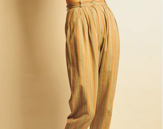 KENZO early 1980's stripes cropped pants