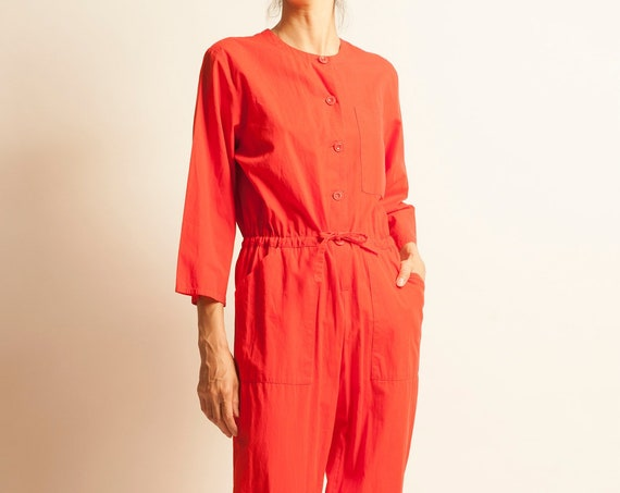 TED LAPIDUS 1970's red cotton no collar jumpsuit