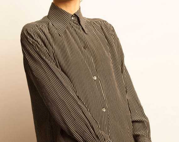 Christian Dior early 1980's striped silk simple shirt