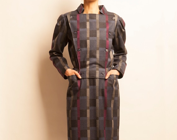 courreges early 1980's wool checked pattern day dress