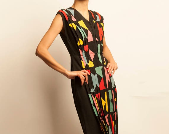1940's multicolors geometric motif pleated dress