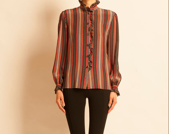 Blouse Guy Laroche from 1980's silk stripes