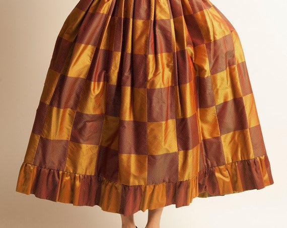 Long skirt Jean Patou from 1960's checked pattern