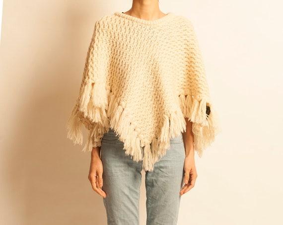 Aran knit poncho