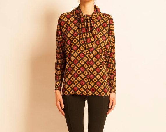Blouse Guy Laroche from 1980's geometric motif