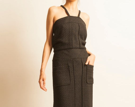 CHANEL tweed black cocktail long strap dress