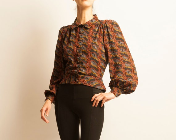 Blouse BUS STOP from 1970's geometric motif