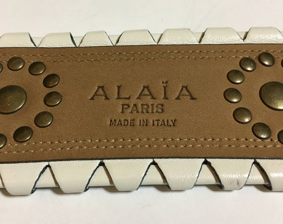 ALAIA 1980's white leather with studs corset belt