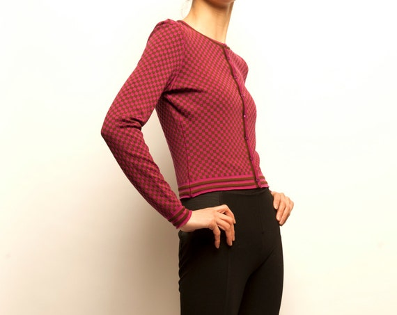 1990's ALAïA damier pattern simple cardigan