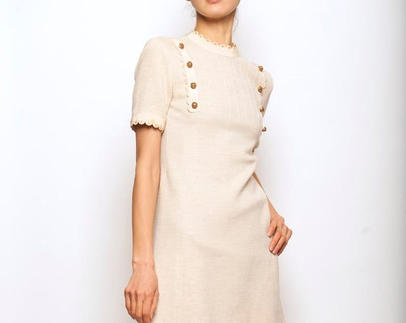 1960's linen and cotton beige mini day dress