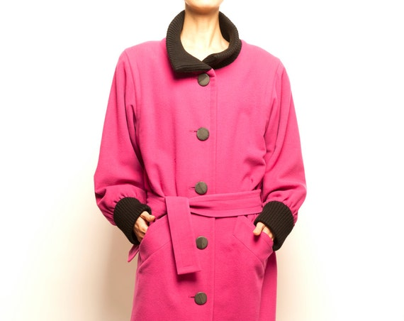 1980's Yves Saint Laurent pink wool dolman sleeves over size coat
