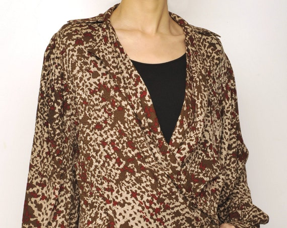 LANVIN Camouflage Pattern Crossover Silk Blouse