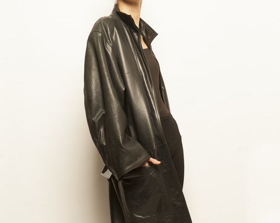 ALAÏA 1980's LAMBSKIN leather black over size long coat