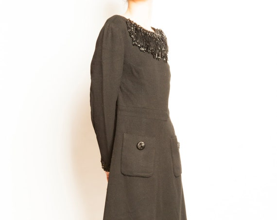 1960's jewelry wool black cocktail dress