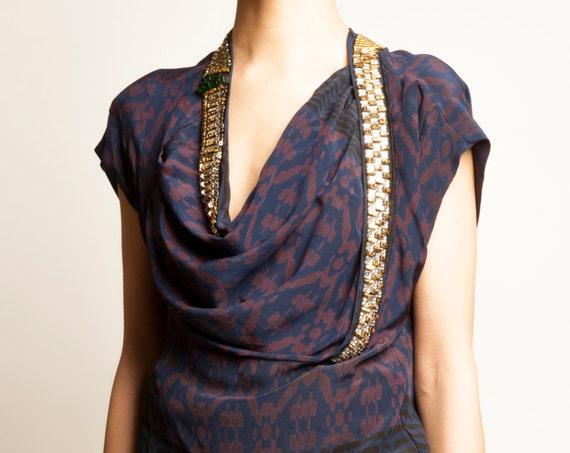 Dries Van Noten jewelry silk asymmetry geometric motif no sleeves top