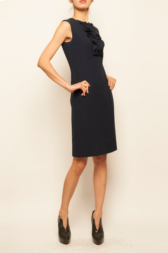 1960's wool navy no sleeves day dress