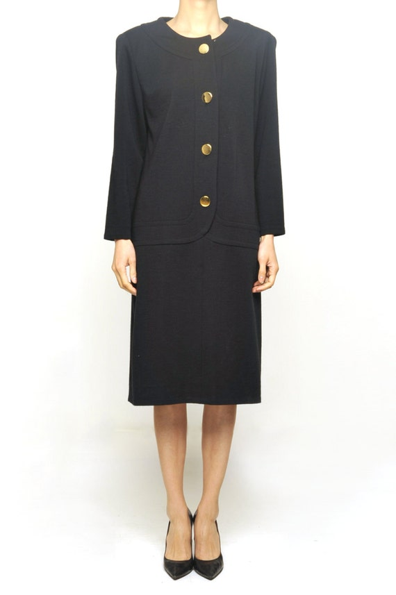 Givency 1980's Black Wool Strait Form Dress