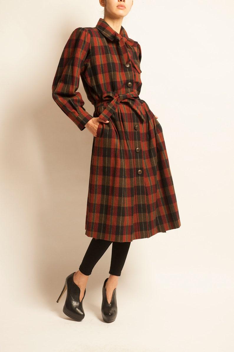 12548fe588f Dress coat Yves Saint Laurent from 1970's tartan checked | Etsy