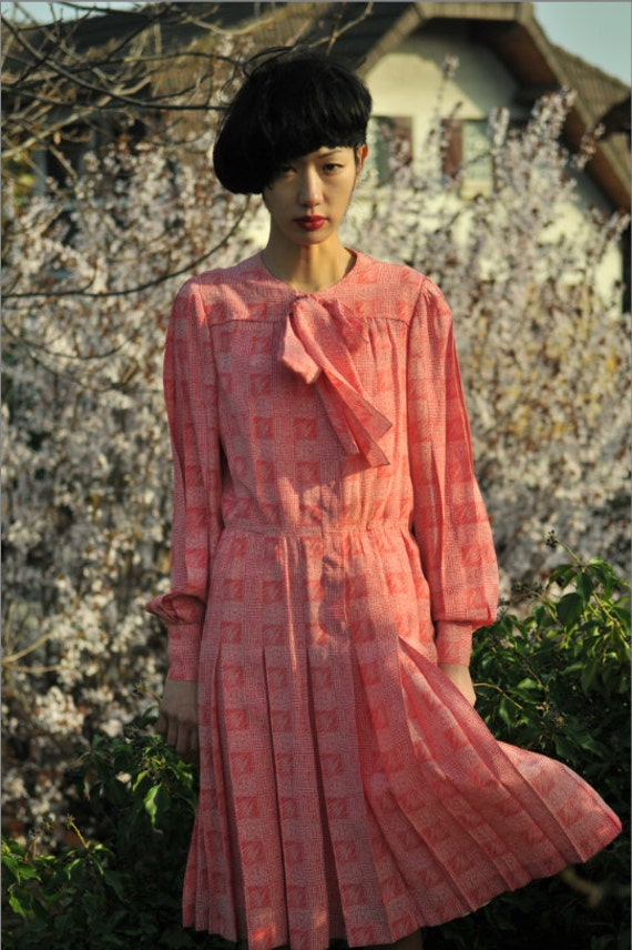 CHANEL Haute Couture 1980 Checked Pattern Dress